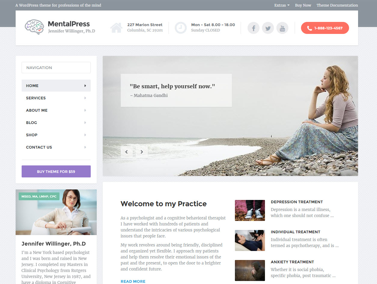 mentalpress wordpress theme - heath wordpress theme - theme for medical - theme for dentist