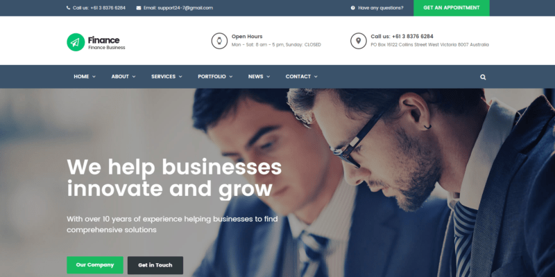 finance Review wordpress theme 2